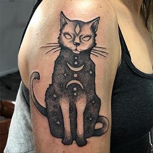 Voorbeeld van een dotwork tattoo gezet door Guus