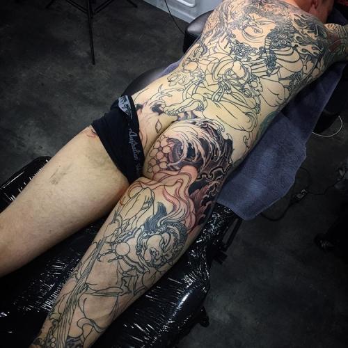 Lijnen Japanse rug tattoo