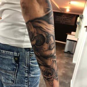 Sleeve tattoo voorbeeld chicano