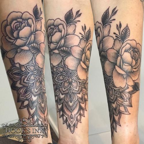 Mandala met roos door Wessel