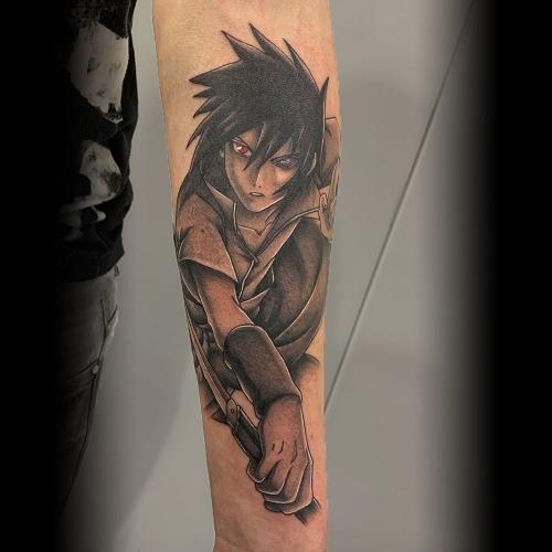 Anime tattoo Uchiha Sasuke uit Naruto
