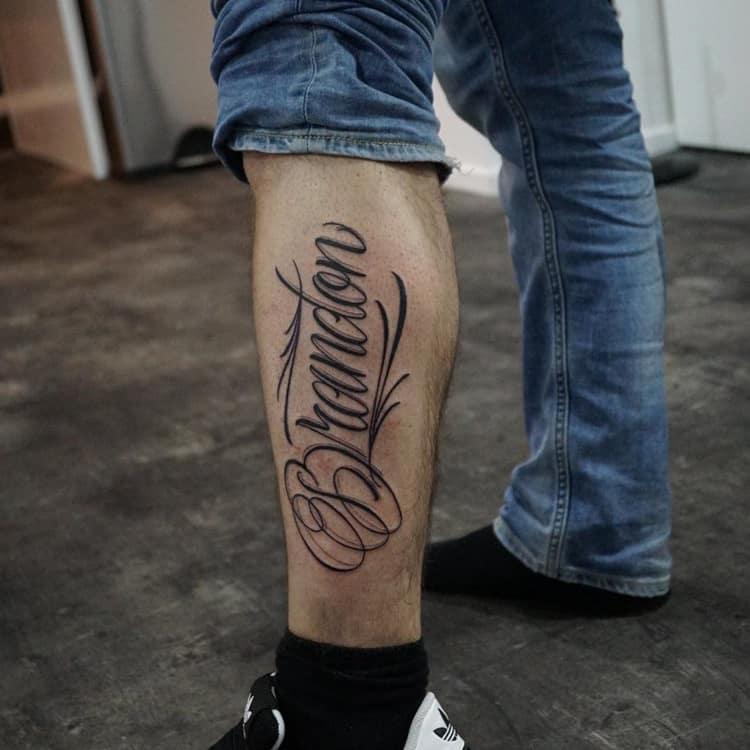 Freehand lettering tattoo Brandon