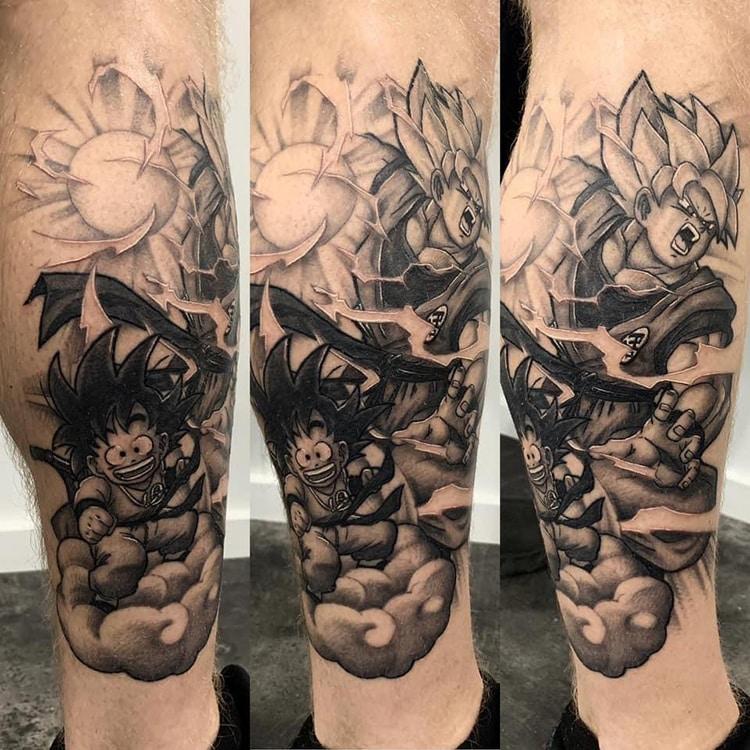 Goku en Gohan Dragon Ball Z tattoo onderbeen