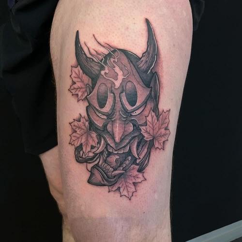 Japanse tattoo demonen masker tattoo