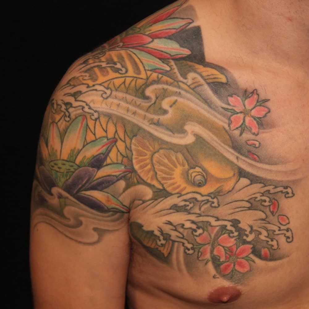Japanse tattoo Koi karper in kleur