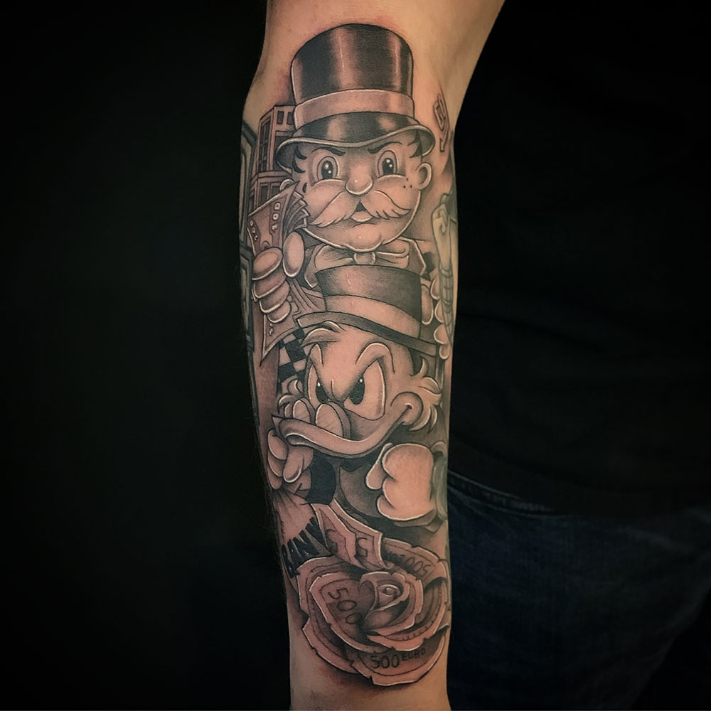 Monopoly man Dagobert Duck geld thema money tattoo Guus