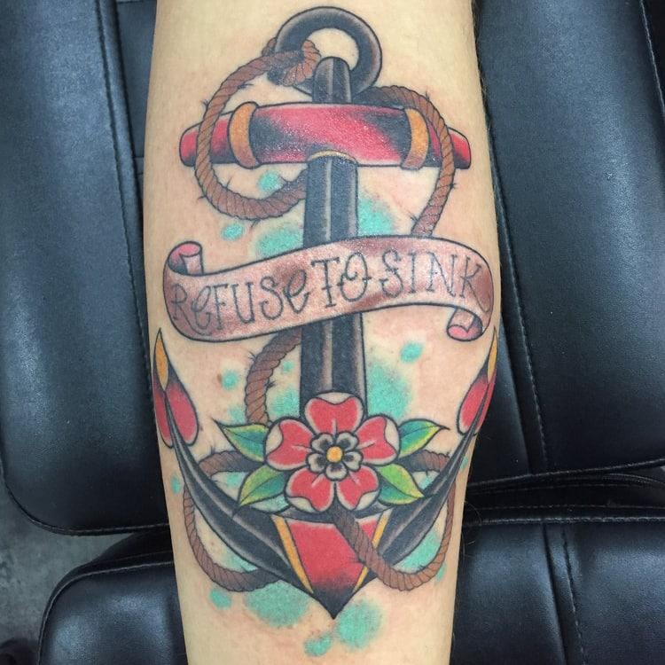 Old school tattoo kleuren anker