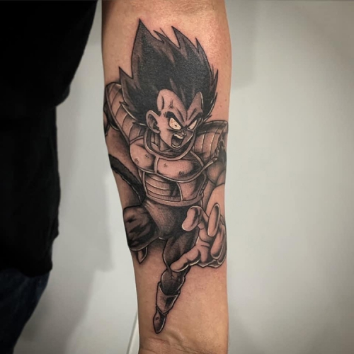 Vegeta Dragon Ball Z tattoo onderarm