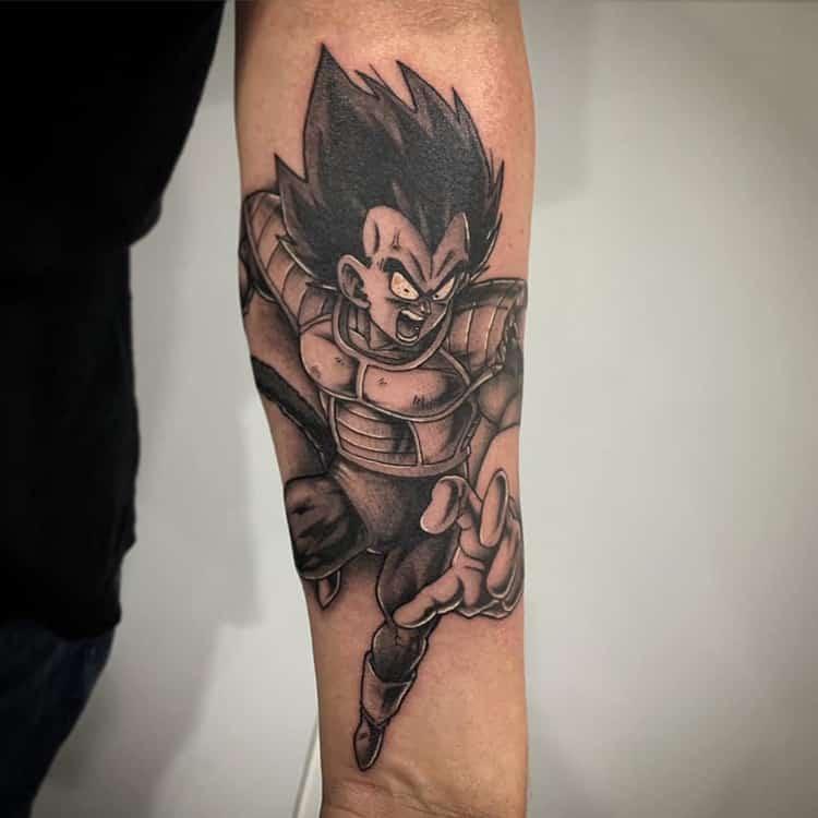 Vegeta Dragon Ball Z tattoo onderarm