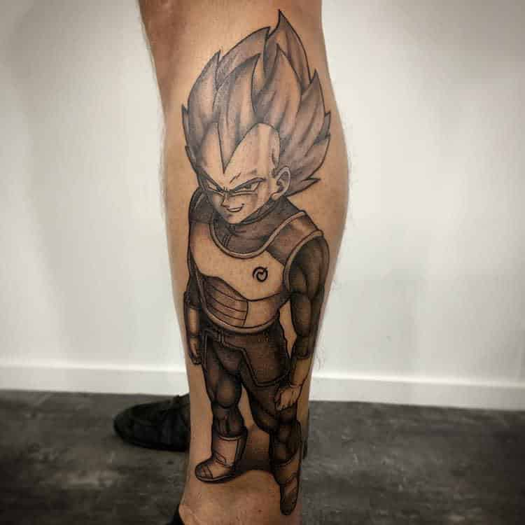 Vegeta Dragon Ball Z tattoo onderbeen