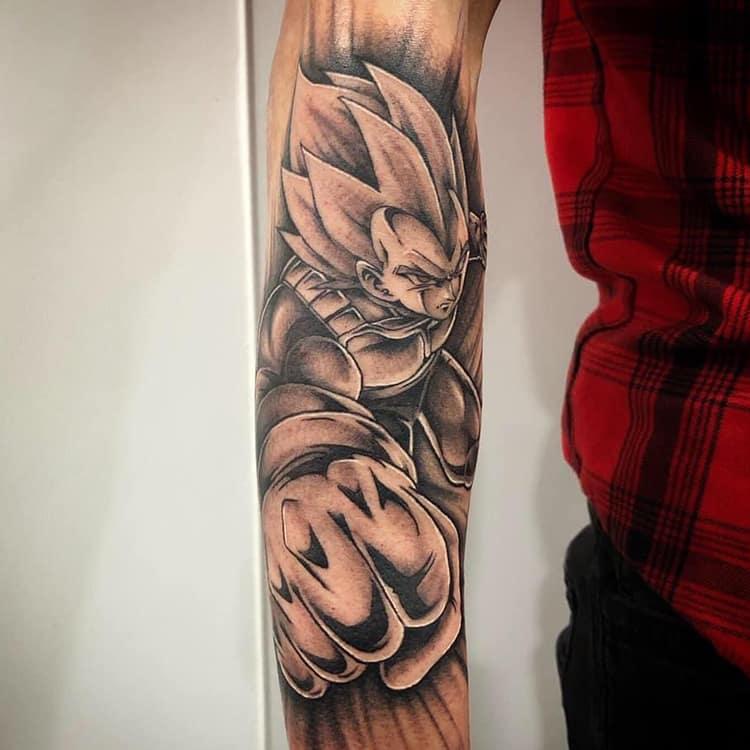 Vegeta Dragon Ball Z tattoo sleeve