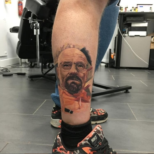 Walter White uit Breaking Bad portret tattoo