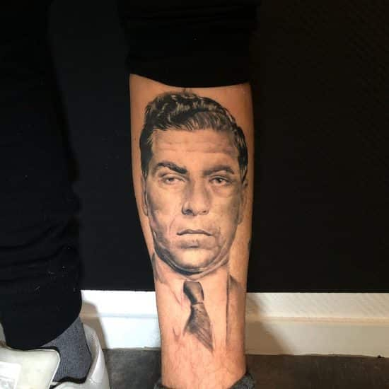 Portret tattoo van Lucky Luciano