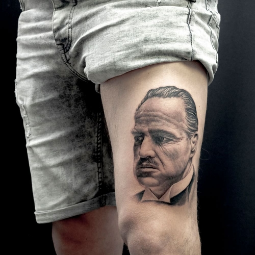 Marlon Brando Godfather portret tattoo