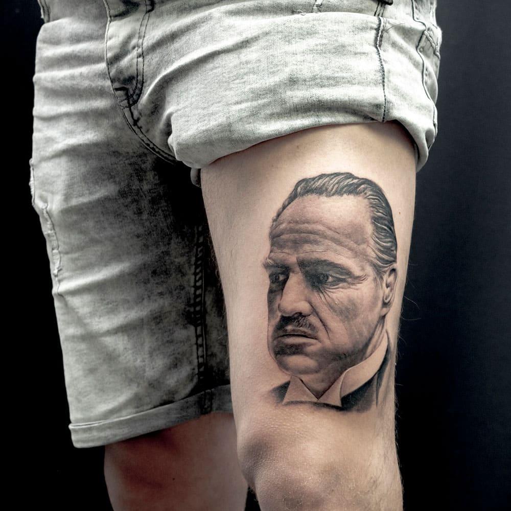 Portret tattoo van Marlon Brando in The Godfather