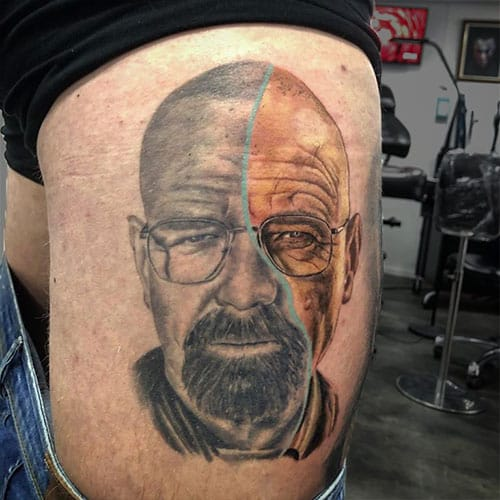 Portret tattoo van Walter White in Breaking Bad
