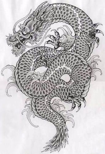 Japanse draken tattoo schets