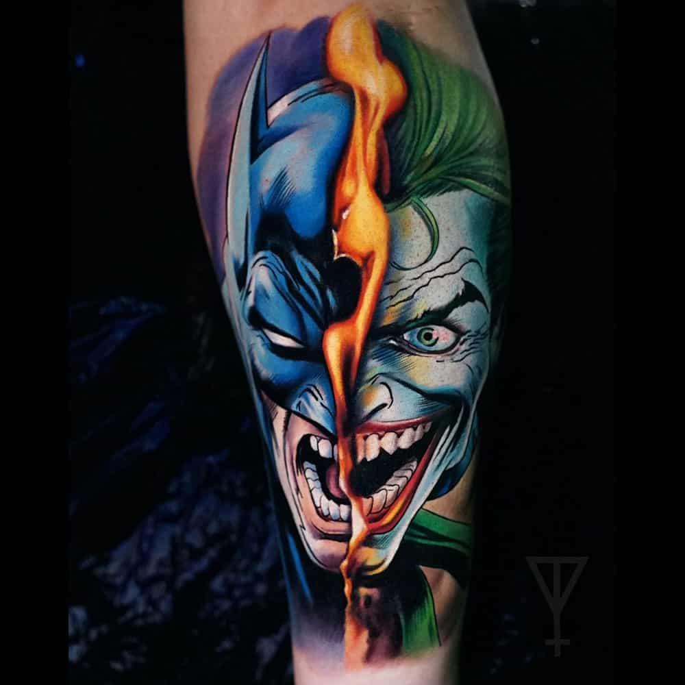 Batman The Joker kleuren tattoo Roman Vainer