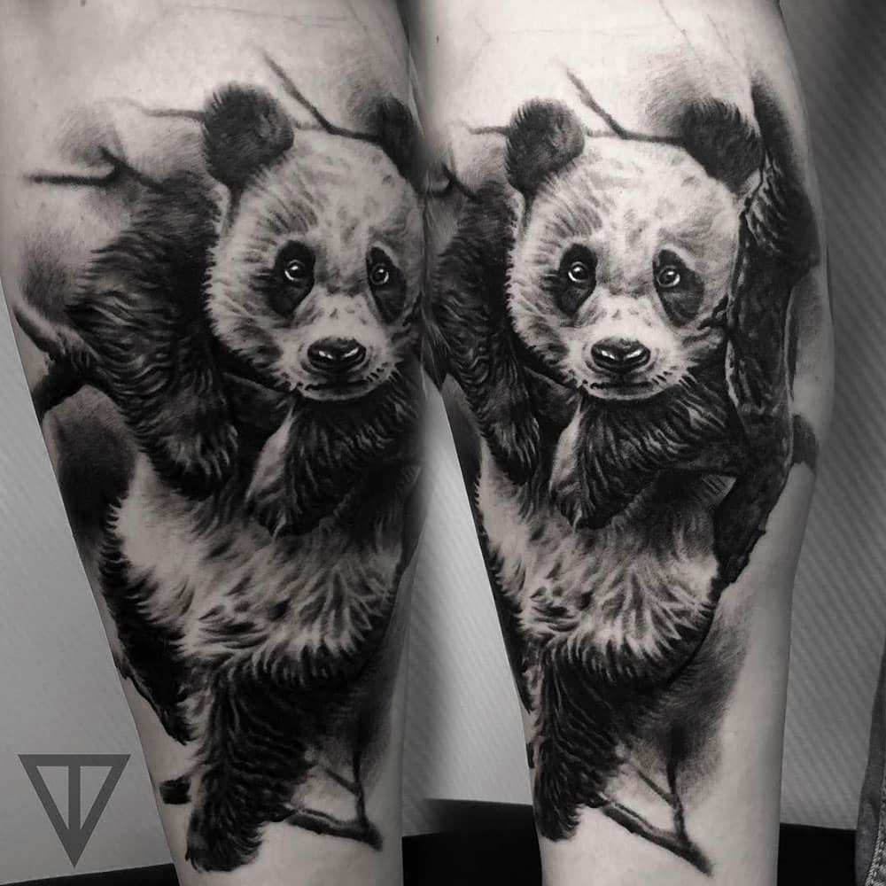 Black and grey pandaberen tattoo Roman Vainer