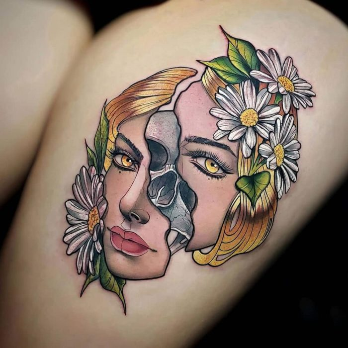 Face off gezicht schedel tattoo Molly