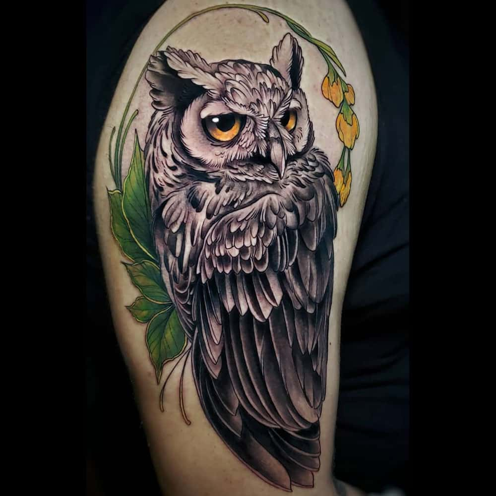 Full color neo traditional uil tattoo Molly