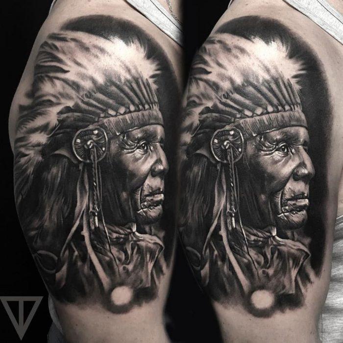 Indian chief indianenhoofd tattoo Roman Vainer