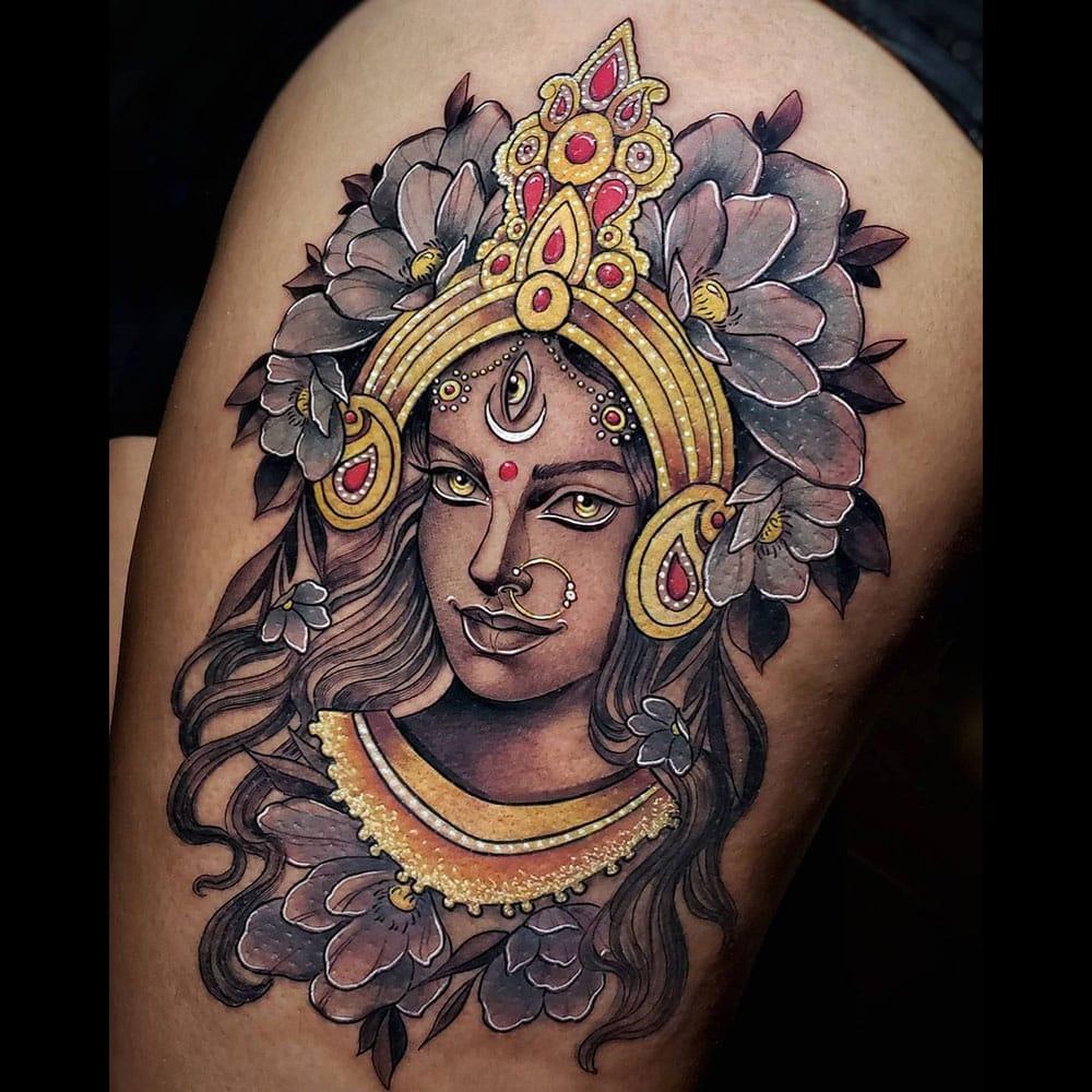 Kali Hindoeïstische godin kleuren neo traditional tattoo Molly