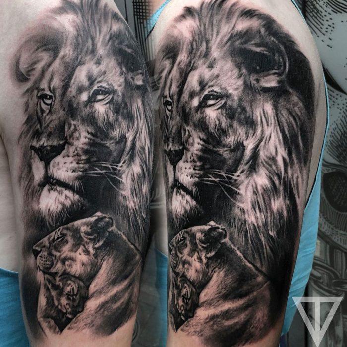 Leeuw leeuwin welp leeuwenfamilie tattoo Roman Vainer