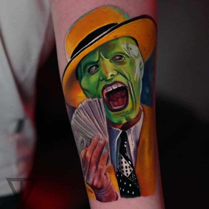 The Mask Jim Carrey kleuren tattoo Roman Vainer